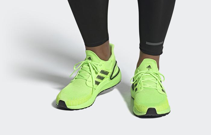 adidas Performance Ultra Boost 20 Signal Green EG0710 on foot 01