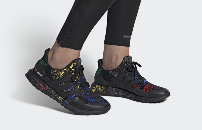 Disney adidas Ultra Boost Black Embroidered FV6050 on foot 02