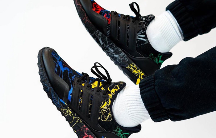 Disney adidas Ultra Boost Black Embroidered FV6050 on foot 03