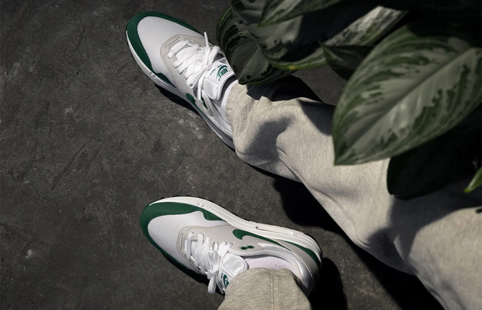 Nike Air Max 1 Anniversary Bottle Green DC1454-100 on foot 02