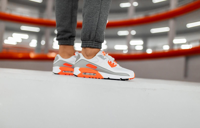 Nike Air Max 90 Orange Grey CT4352-103 on foot 01