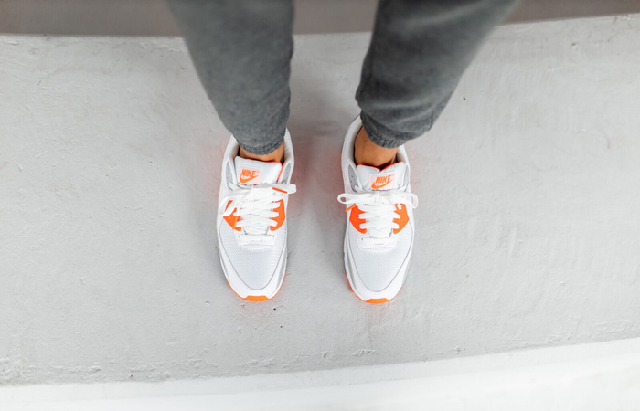 Nike Air Max 90 Orange Grey CT4352-103 on foot 02