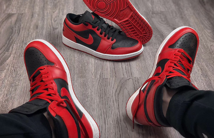 Nike Jordan 1 Low Red Black 553558-606 on foot 01