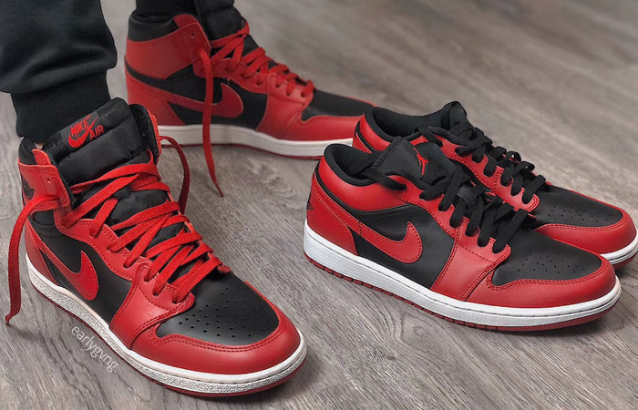 Nike Jordan 1 Low Red Black 553558-606 on foot 02