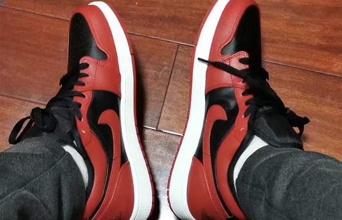Nike Jordan 1 Low Red Black 553558-606 on foot 03