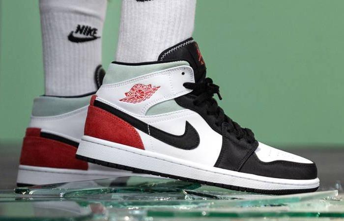 Nike Jordan 1 Mid SE Union Black Toe 852542-100 on foot 01