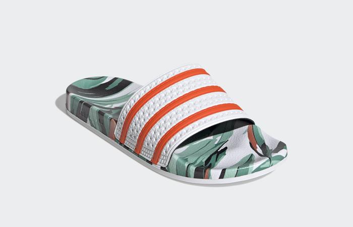 adidas Adilette Slides Jungle Leaf White FZ3824 02