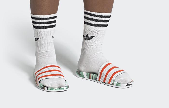 adidas Adilette Slides Jungle Leaf White FZ3824 on foot 01