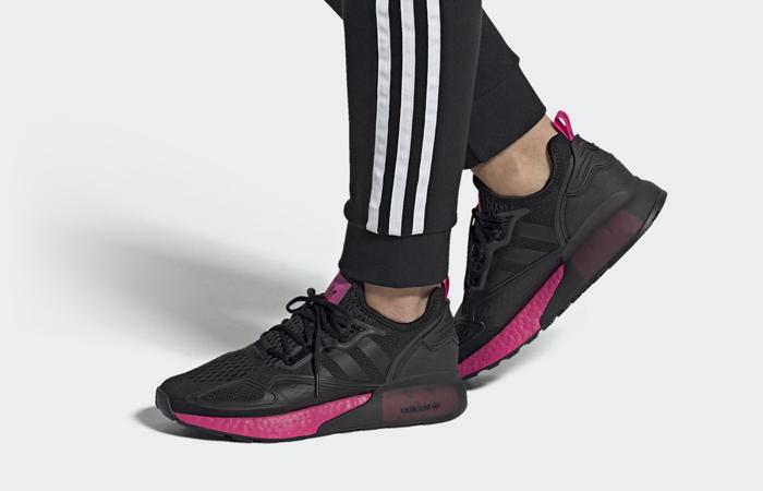 adidas ZX 2K Boost Black Shock Pink FV8986 on foot 01