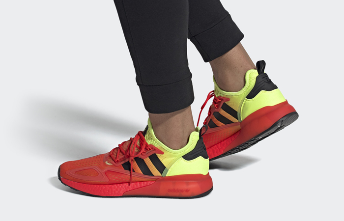 adidas ZX 2K Boost Fire Red FW0482 on foot 01