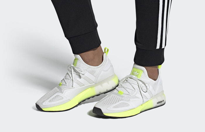 adidas ZX 2K Boost White Solar Yellow FW0480 on foot 01