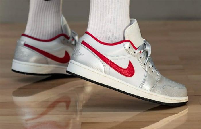 Nike Air Jordan 1 Low Premium Grey University Red DA4668-001 on foot 01