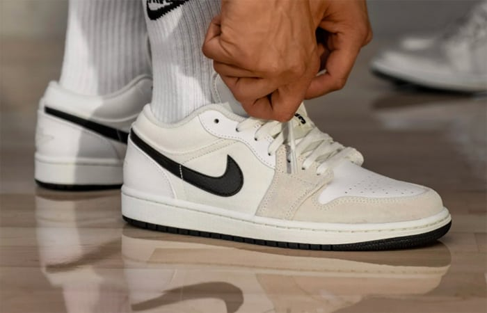 Nike Air Jordan 1 Low Premium Sail DC3533-100 on foot 01