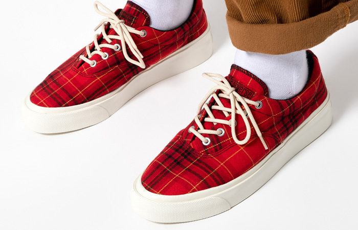 Converse Skidgrip OX Twisted Plaid Red 169219C on foot 01