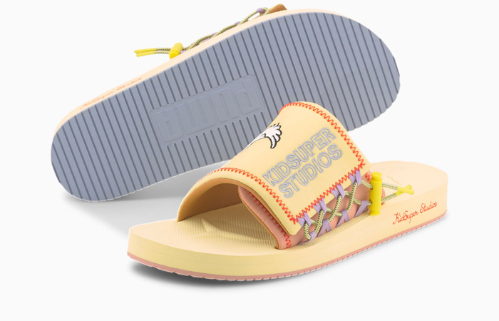 KidSuper PUMA Wilo Slide Yellow Peach 373543-01 02