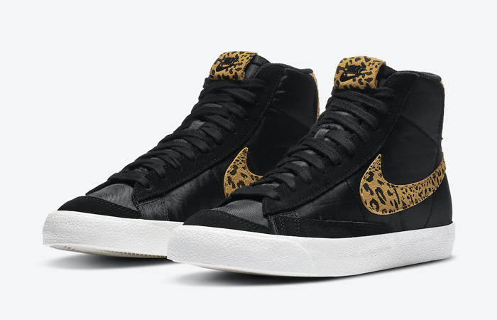 Nike Blazer Mid Black Dressed Up With Leopard Printing Swoosh f