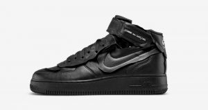 COMME des GARÇONS And Nike Air Force 1 Black Receives A Leather Texture! 01