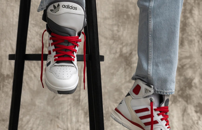 Kid Cudi adidas Torsion Artillery Hi White Red FZ0883 on foot 01