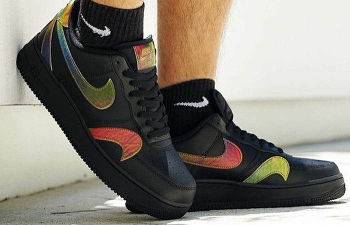 Nike Air Force 1 Misplaced Swoosh Black CK7214-001 on foot 01