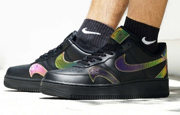 Nike Air Force 1 Misplaced Swoosh Black CK7214-001 on foot 02