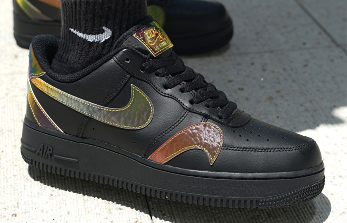 Nike Air Force 1 Misplaced Swoosh Black CK7214-001 on foot 03