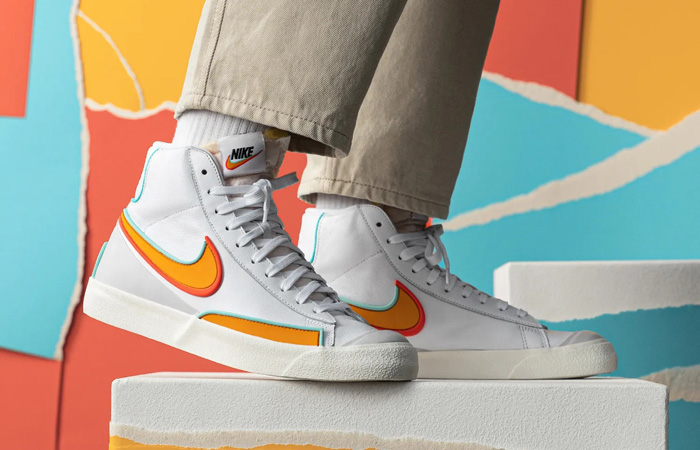 Nike Blazer Mid 77 Infinite White Orange DA7233-100 on foot 01