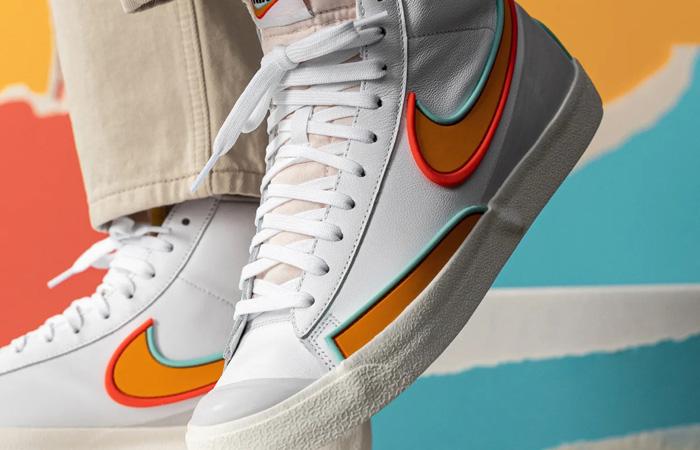Nike Blazer Mid 77 Infinite White Orange DA7233-100 on foot 02