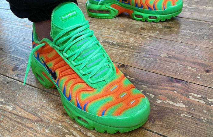 Supreme Nike TN Air Max Plus Green Volt DA1472-300 on foot 02