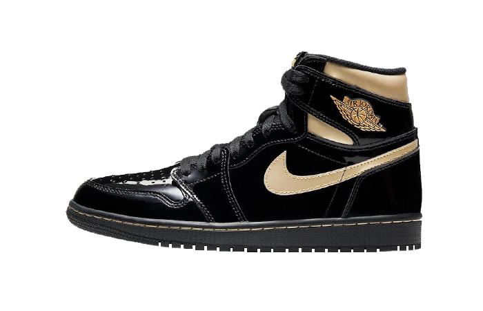 Air Jordan 1 High Patent Black Metallic Gold 555088-032 01