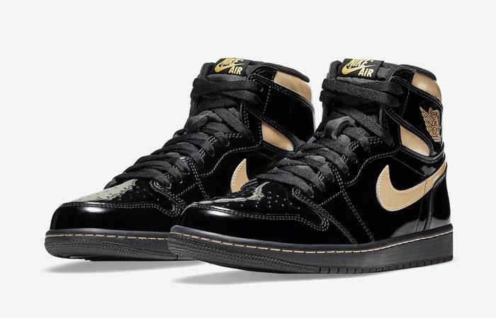 Air Jordan 1 High Patent Black Metallic Gold 555088-032 02