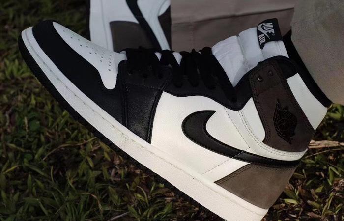 Air Jordan 1 Retro High Dark Mocha 555088-105 on foot 02
