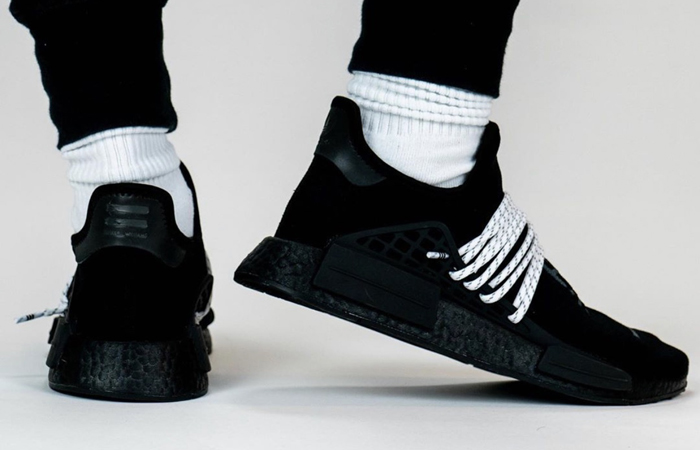 Pharrell adidas NMD Hu Black GY0093 on foot 03