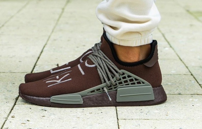 Pharrell adidas NMD Hu Chocolate GY0090 on foot 01