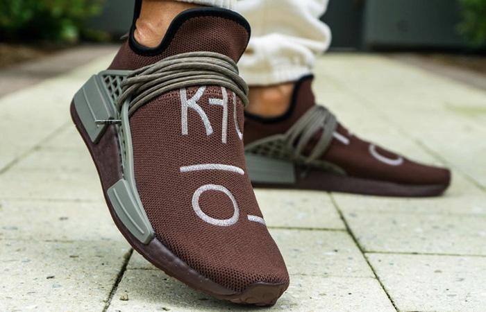 Pharrell adidas NMD Hu Chocolate GY0090 on foot 02
