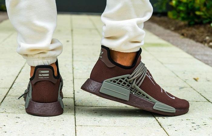 Pharrell adidas NMD Hu Chocolate GY0090 on foot 03