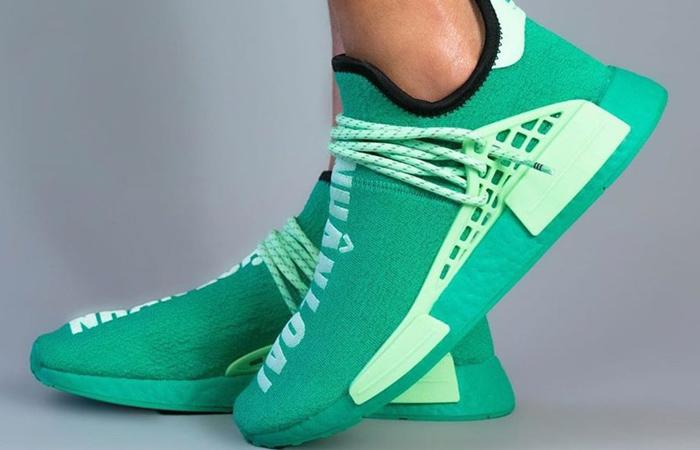 Pharrell adidas NMD Hu Turquoise GY0089 on foot 01