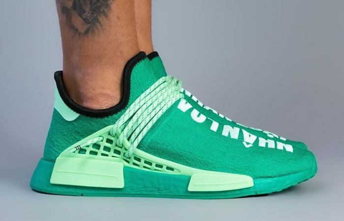 Pharrell adidas NMD Hu Turquoise GY0089 on foot 02