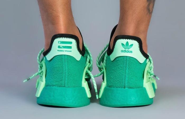 Pharrell adidas NMD Hu Turquoise GY0089 on foot 03