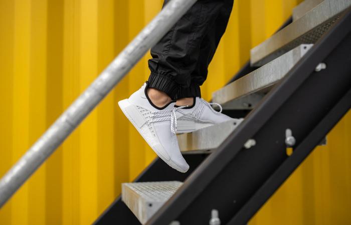 Pharrell adidas NMD Hu White GY0092 on foot 01