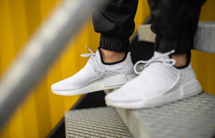 Pharrell adidas NMD Hu White GY0092 on foot 02