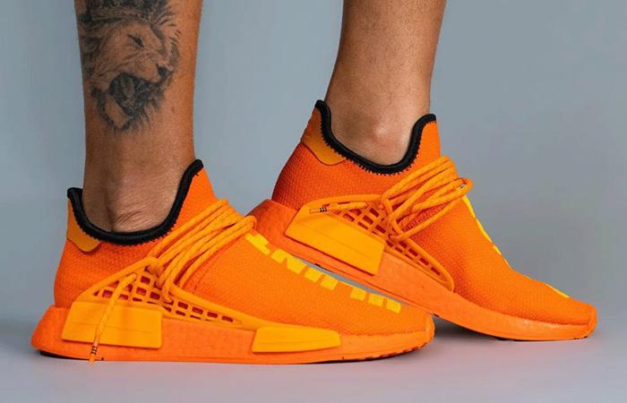 Pharrell adidas NMD Hu Yellow Orange GY0095 on foot 01