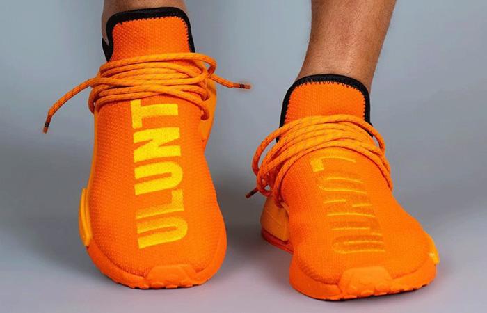 Pharrell adidas NMD Hu Yellow Orange GY0095 on foot 02