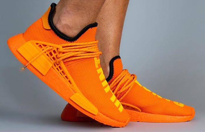Pharrell adidas NMD Hu Yellow Orange GY0095 onfoot 04
