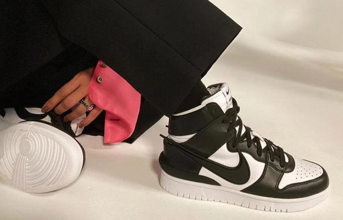 Ambush Nike Dunk High Core Black White CU7544-001 on foot 01