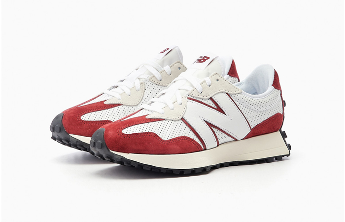 New Balance 327 Perforated Pack White Red MS327PE 02