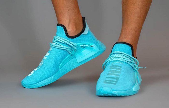 Pharrell Williams adidas NMD Hu Aqua Blue GY0094 on foot 01