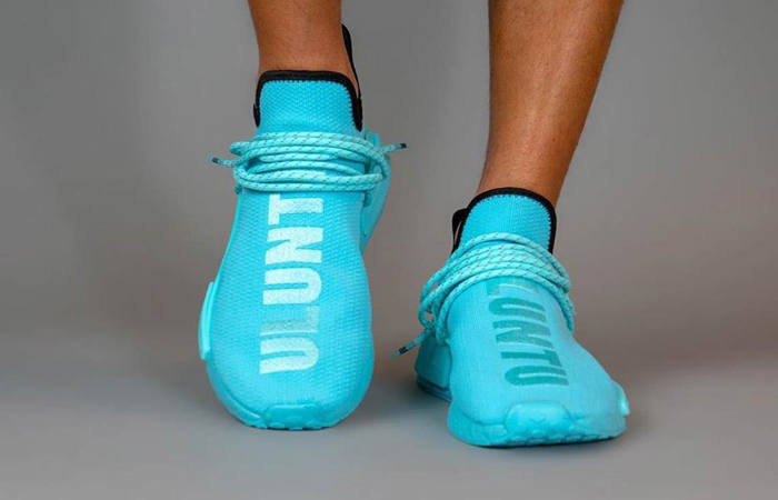 Pharrell Williams adidas NMD Hu Aqua Blue GY0094 on foot 02