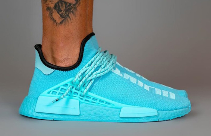 Pharrell Williams adidas NMD Hu Aqua Blue GY0094 on foot 03