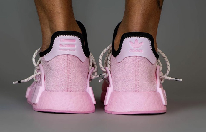 Pharrell Williams adidas NMD Hu Pink GY0088 on foot 03