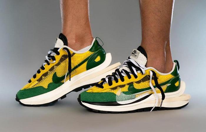 Sacai Nike Vaporwaffle Tour Yellow Gorge Green Sail CV1363-700 on foot 01
